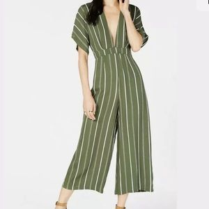 SAGE THE LABEL Striped Cropped Jumpsuit Large NWT